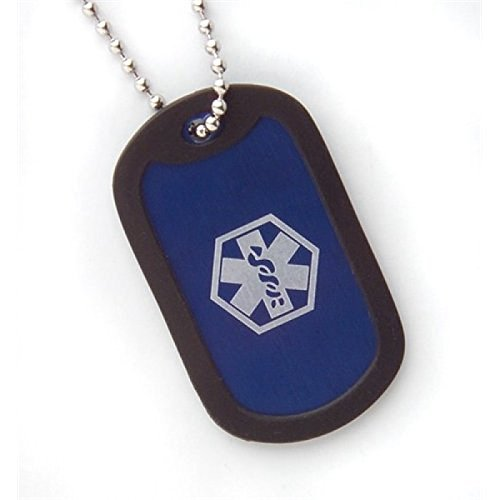 Fashion Alert - Alluminio Medical ID Dog Tag Collana Blu 5 cm su catena da 45 cm.