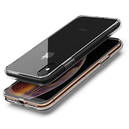 Ringke Coque Compatible avec iPhone XS/iPhone X, [Fusion] Transparente Légère Clair PC Back TPU Bumper Étui Anti-Choc Protection [Technologie Anti-Adhérence] pour Apple iPhone XS Coque - Clear