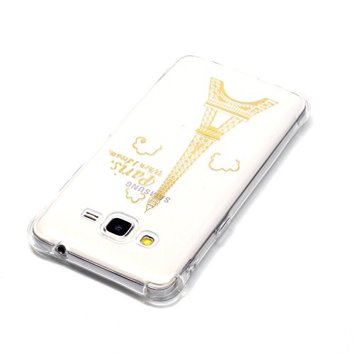 Samsung Galaxy J3 Coque,Samsung Galaxy J3 Gel Motif métallique TPU Case Feeltech Apple iPhone SE Case Silicone Clair Ultra Mince Premium Bumper iPhone 5S Housse Légère Étui Protecteur Transparente Sou Tour d'or