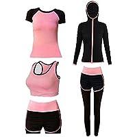 Blancho Bedding Traje Yoga/Activewear/Gimnasio Equipo del Desgaste del Entrenamiento Deportivo de 5 Piezas de la Mujer