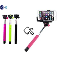N4U Online/® Apple iPhone 6s Premium Handheld Selfie Stick Monopod Extendable Function with Adjustable Phone Holder Comes With Bluetooth Wireless Shutter Remote Control Hot Pink