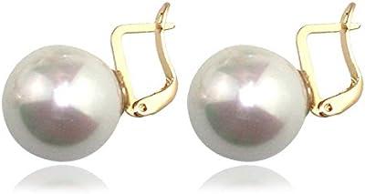 Ehvan Mujer Pearl bola Vintage Clip Pendientes, 1.7CM Golden