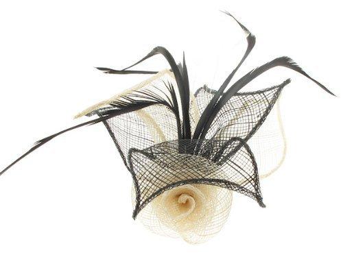 ForHimForHer Bibi en forme de ros'avec feuilles et plumes monté sur barrette A Cheveux Broche Pin.