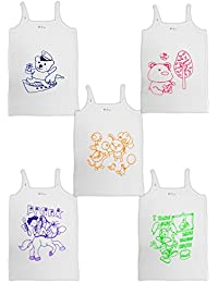 HAP Kids White Cotton Camisole /Spaghetti / Slip /Inner /Multi Pack/Pack of five / 5