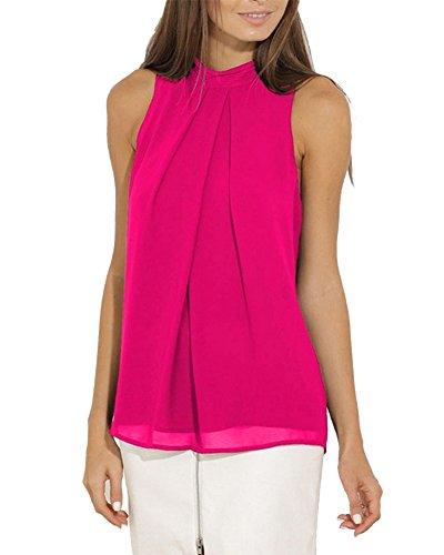 Donne Senza Maniche Bluse Camicie Canotte Top Shirts Rose