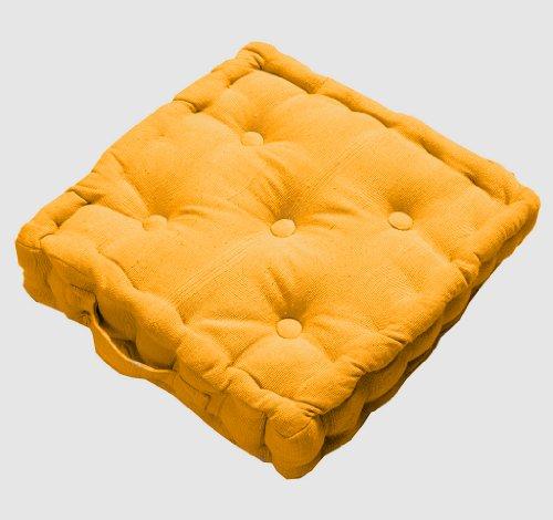 uhlkissen Sitzkissen Rajput 40 x 40 cm in Ripp-Optik aus 100% reiner Baumwolle mit Polyesterfüllung in sonnengelb ()