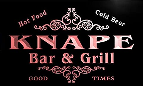u23787-r KNAPE Family Name Bar & Grill Home Beer Food Neon Sign Enseigne Lumineuse