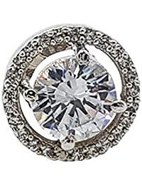 KumKum Jewels Silver Plated American Diamond Encrusted Stud Earrings For Woman