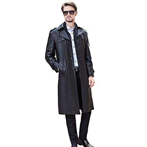 �nner Langen Abschnitt Trenchcoat Pu-Leder Kleidung Männlichen Doppelkragen Plus Samt Windbreaker Fashion Business Coat,Black-4XL/195/108(Bust:132cm/51.9in) ()