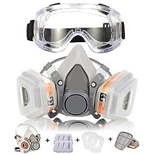 CofflyTM Atemschutzmaske Respirator Staubmaske Hlabmaske Set mit Schutzbrille Gasmaske mit Filter Gegen Gase, Dämpfe und Partikel Lackiermaske für Handwerker, Heimwerker, Farbspritz und Pestizid usw