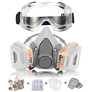 Respirador CofflyTM Máscara de Gas Reutilizable con Gafas de Seguridad Protección Respiratoria Semimáscara con Doble Filtro para Pintura, Polvo, Productos Químicos, Lijado a Máquina, Formaldehído