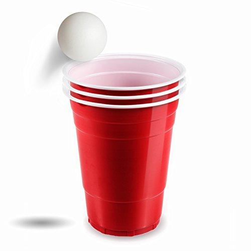 100 Red Cups inkl. Gratis 6 Bier Pong Bälle - hochwertige Plastikbecher - optimale Beer Pong Becher für eine unvergessliche Party (Ping-pong-tisch Bier)