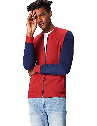 Activewear Jacke Herren, Taschen und Reißverschluss, Rot (Oxblood), 50 (Herstellergröße: Medium) -