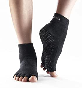 ToeSox Men's and Women's 1 Pair Half Toe Organic Cotton Ankle Yoga Socks In Black 9-10.5 Unisex Black