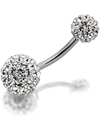32b1e2b13 F.Hinds Inox Steel Crystal Double Discoball Belly Bar Navel Ring Jewellery  12mm