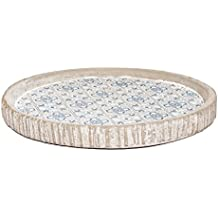 Cemento Bandeja con estufas Print | decorativo hormigón | Vintage Concrete patrón étnico decorativa bandeja Carcasa, azul, redondo
