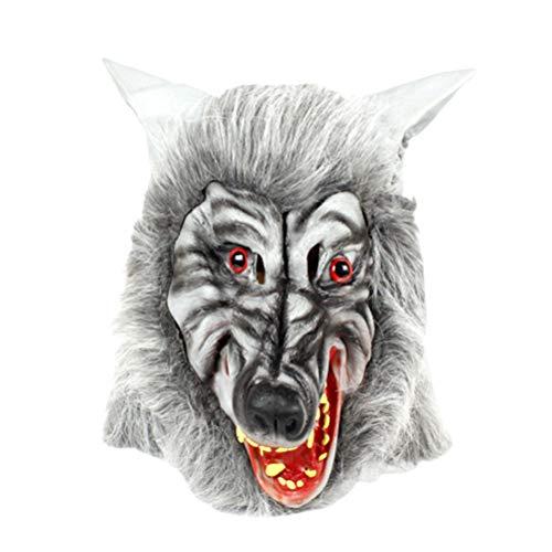 Amosfun Wolf Kopf Maske und Pfote Handschuhe realistische Horror Masken Halloween Tier Maske Kostüm Requisiten Party Supplies