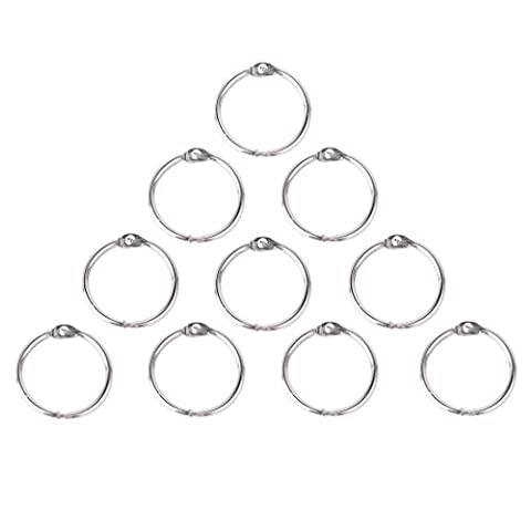 SODIAL(R) 10x Round Hinged Rings for DIY Scrapbooks/Albums/Calendars---20mm