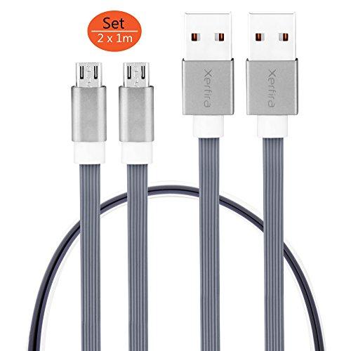 Xerfira CAB 2000 Micro-USB 2.0 Flachband Kabelset aus 2 strapazierfähigen und schnellen USB-Ladekabeln (Flache Magnetic Usb-kabel)