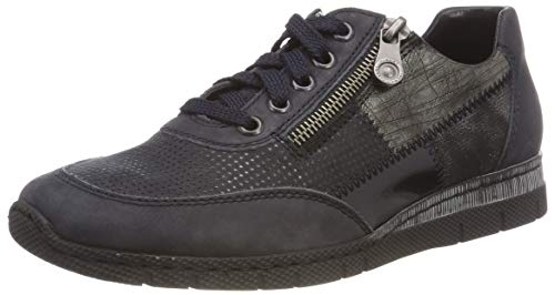 Rieker Damen N5320 Sneaker, Blau (Ozean/Pazifik/Marine/Altsilber/Schwarz-Silber 15), 41 EU
