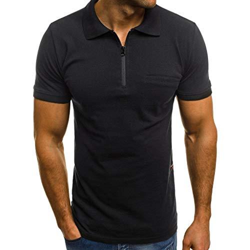 ASHOP Tshirt Herren Männer Lässige Mode Slim Fit Revers Kurzarm T Shirt mit Reißverschluss Poloshirt mit Taschen Schwarz,XXL