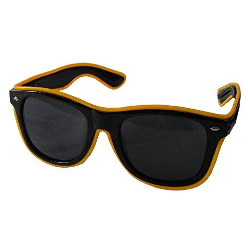 grau.zone LED-Brille Leuchtbrille Partybrille Spassbrille Blinky mit dunkle Gläser Gelb