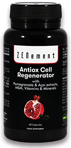 POTENTE Antiedad ANTIOX CELL REGENERATOR, 60 Cápsulas, con Granada, Açaí, MSM, Vitaminas C, E y Minerales Zinc, Selenio y Cobre
