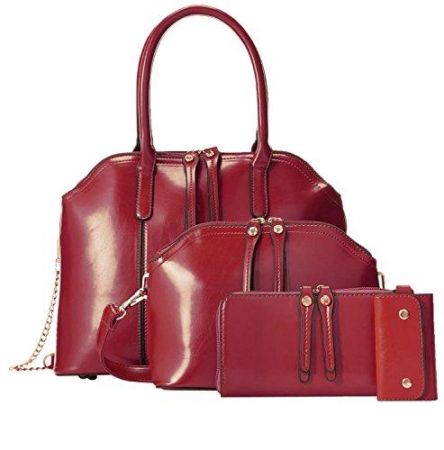 Donne Borsa HooH 4 pezzi Borse Tote Borse Baguette Pochette da giorno Key Case Set rosso