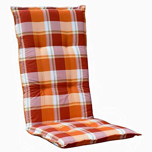 Möbelträume Auflagen für Hochlehner Polster Kissen in Orange kariert Rio 10473-450