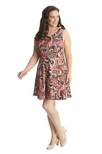 Ladies Plus Size Paisley Print Skater Dress Orange 18