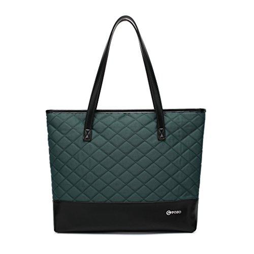 Cooserry Laptop Tote Bag for Women, Slim Nylon 15,6 Zoll Comupter/Notebook/MacBook/Ultrabook Geldbörse Schultertasche für Arbeit, College, Dunkelgrün/Orange/Dunkelrot grün grün L -