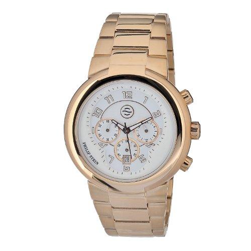 Philip Stein Strap 32-ARGW-RGSS–Unisex Watch–Analogue Quartz–White Dial–Rose Gold