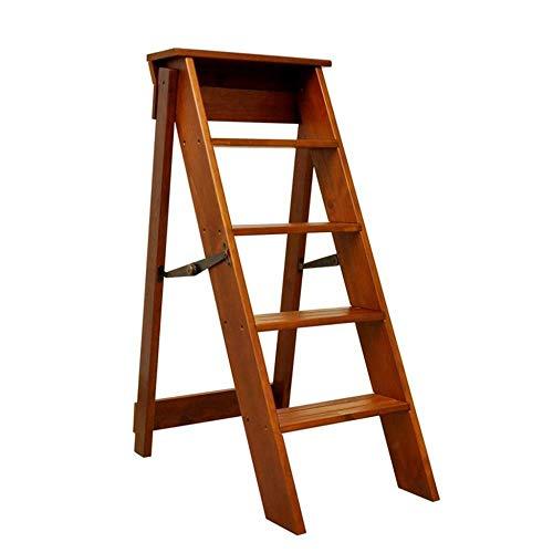 Fabricada en pino mar/ítimo sin barnizar. 5 pelda/ños Escalera de tijera de madera con pelda/ño ancho de 54 mm