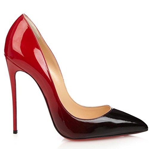 SHOFOO - Femmes - Dégradé Rose et Noir ou Rouge et Noir - Cuir brillant synthétique - Talon aiguille - Bout pointu fermé Dégradé Rouge & Noir