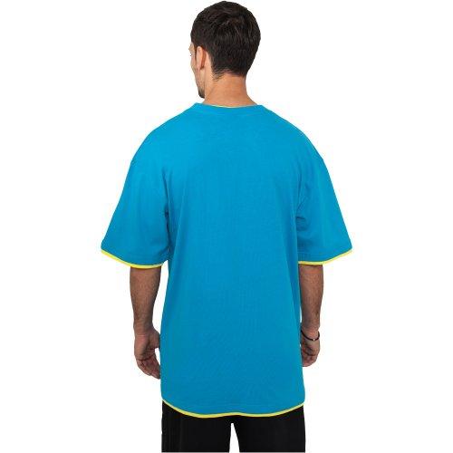 Urban Classics Herren T-shirt Bekleidung Contrast , Turquoise (türkis/yellow)