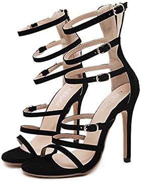 Beauqueen Gladiators Open-Toe Stiletto High Heel Cremallera Edición Limitada Sandalias Elegantes UE Tamaño 35-...