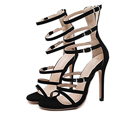 Beauqueen Gladiateurs à talons ouverts Stiletto High Heel Zipper Édition Limitée Sandales élégantes Taille de l'UE 35-40 , black , 36