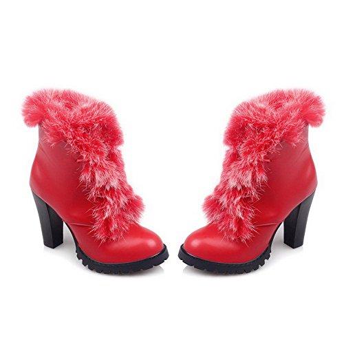 Colore Tacco Voguezone009 Stivali Pizzo Rosso Solido Fino Giù Di Materiale Donna Flessibile wXXq1HY