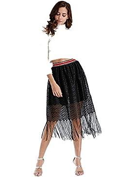 CTOOO-Vestido Elegante Borla de cintura elástica Falda de moda péndulo para Mujer