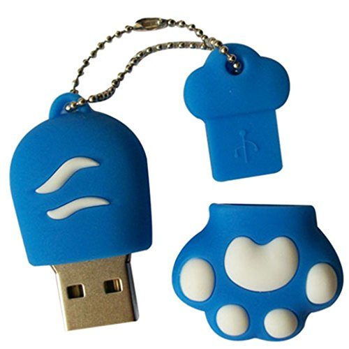 DAYAN Carino Memory Stick Kitten Zampa Gatto USB 3.0 Flash Pen Drive disco Blu 16G