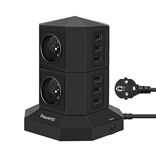 Multiprises Parafoudre et Surtension,Powerjc 4 Prises Electrique Informatique 6 Ports (5V 2,4A) Multiprise USB avec 6.6ft Rallonge Electrique,Interrupteur,Adaptateur Douille Noir