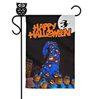 """Naicissism Halloween Garden Flags, Happy Halloween Decoration 12"""" x 18"""" Inch House Flag Scary Night Decorative Pumpkin for Outdoor Home Lawn Yard Flag-Blue"""