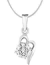 Mahi with Swarovski Zirconia Solitaire Floral Rhodium Plated Brass Victorian Pendant for Women