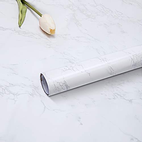 Rhodesy Marmor Folie Selbstklebend 61 x 300cm, Dauerhaft Matt Vinylfilm Wasserdicht Ölfeste Tapete für Möbeloberflächen Zuhause Büro Badezimmer Küche