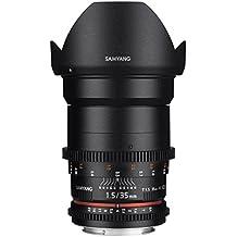 Samyang F1312906101 - Objetivo para vídeo VDSLR para Sony E (distancia focal fija 35mm, apertura T1.5-22 AS UMC II, diámetro filtro: 77mm), negro