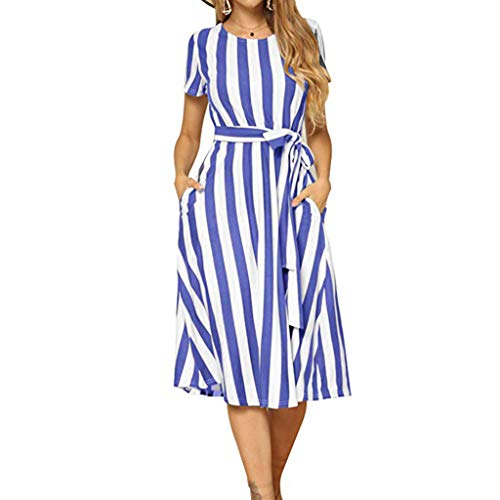TIFIY Kleid 2019 Vintage Boho Damen Sommer Ärmel Strand gedruckt kurzes Minikleid Strand Arbeit Täglich Basic draussen Sommer kleiden(Blau,L) (80er-jahre-mädchen Kleiden Die Wie Sie Sich)