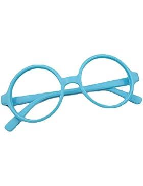 Redondo Gafas para niños - Gafas de lentes transparentes marco Geek / Nerd gafas con forma de coche gafas caso...