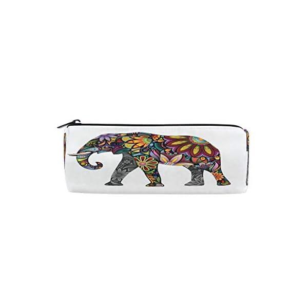 Funnyy – Estuche para lápices con forma de cilindro de elefante, diseño étnico floral