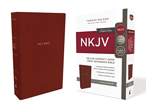 NKJV, Deluxe Reference Bible, Compact Large Print, Imitation Leather, Red, Red Letter Edition, Comfort Print