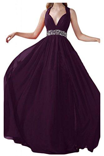Prom dresses Toscana sposa adorabile Rueckenfrei cristallo dei vestiti da sera Chiffon lungo del partito damigella d'onore Uva